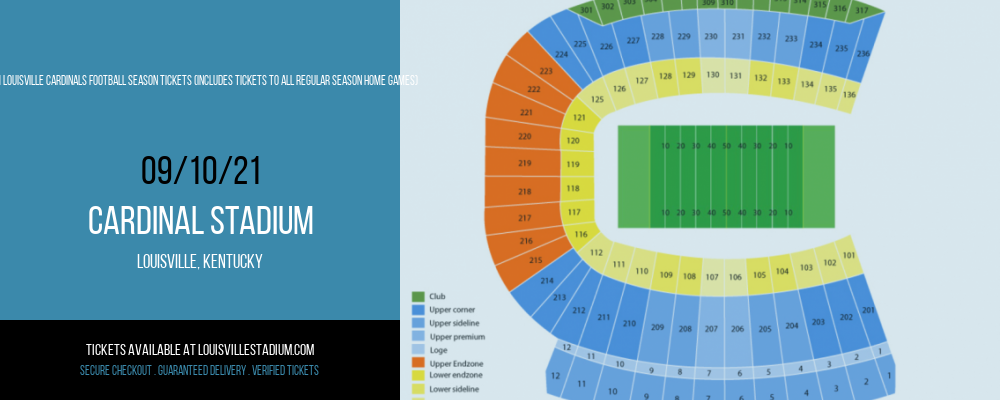2021 Louisville Cardinals Football Season Tickets (Includes Tickets To All Regular Season Home Games) at Cardinal Stadium
